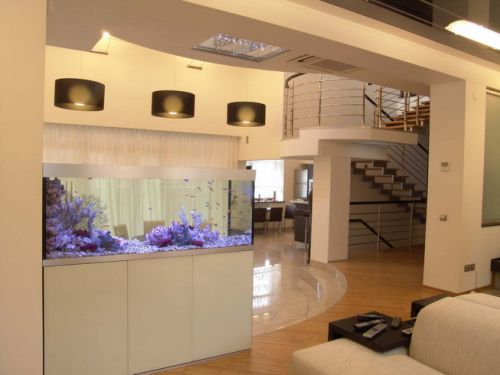 Гостиные с аквариумом