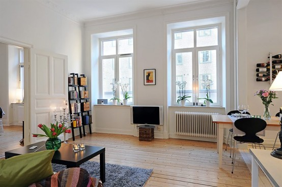 Шведский интерьер квартиры студии 58 кв. м.