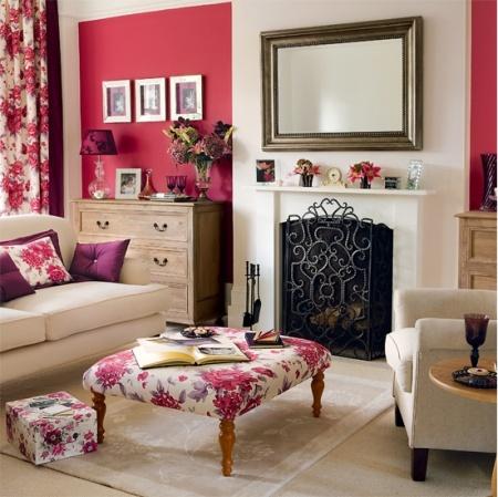 Гостиные в розовых тонах