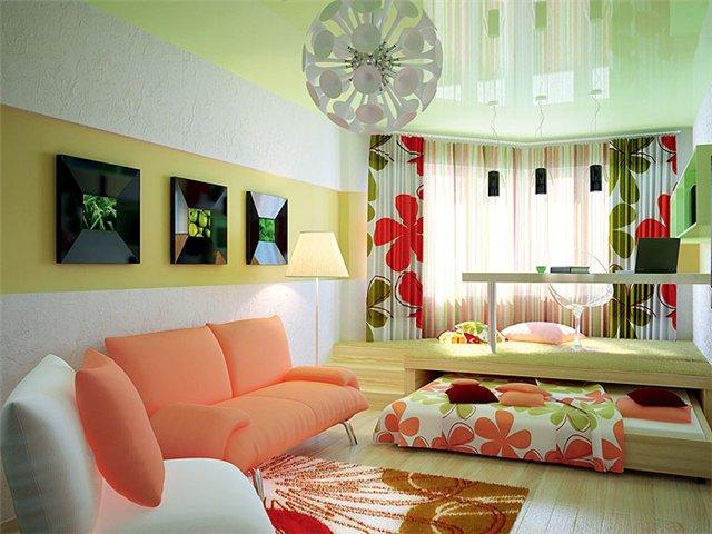Интересные идеи размещения кровати в гостиной