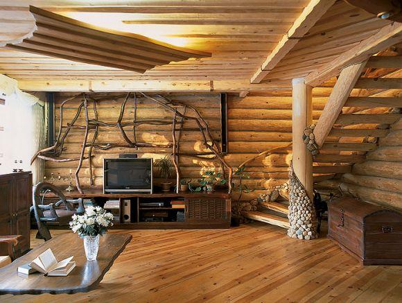 Интерьер бревенчатого дома