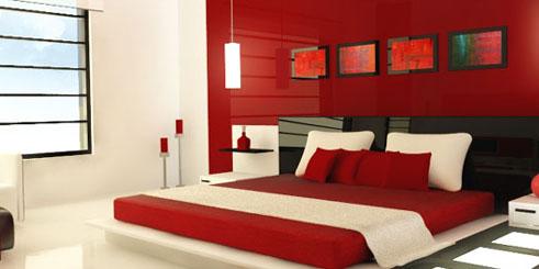 Красно-белая спальня