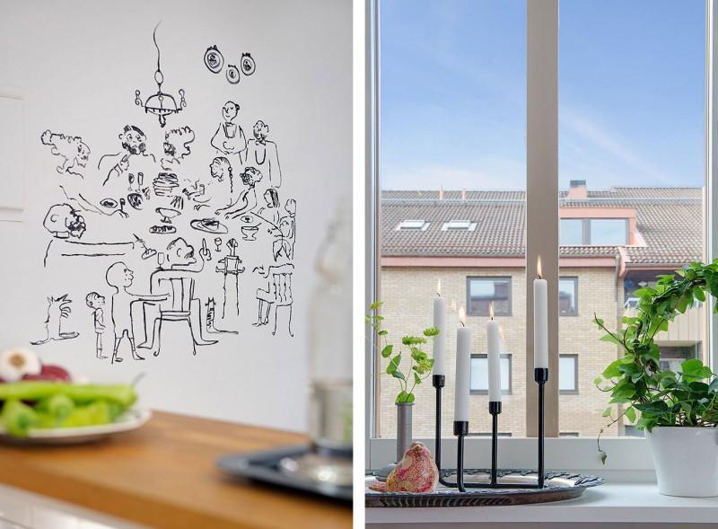 Интерьер квартиры в светлых тонах в Гетеборге,Швеция