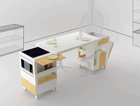 Кухонный гарнитур и обеденный стол в одном