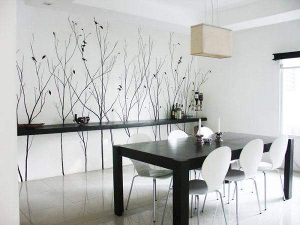 Художественная роспись стен в интерьере кухни