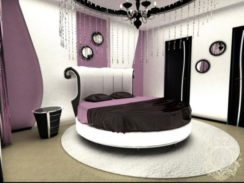 Спальня с круглой кроватью