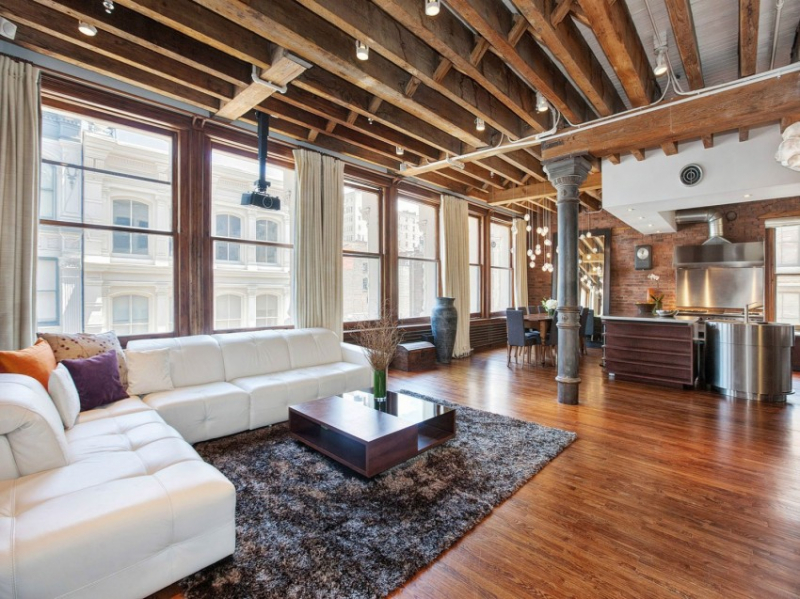 Шикарные апартаменты в стиле лофт в Нью-Йорке
