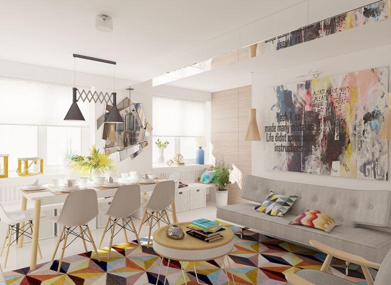 Яркий и необычный интерьер четырехкомнатной квартиры в панельном доме