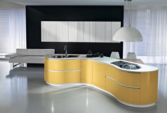 Уникальная кухня с плавными линиями от Pedini