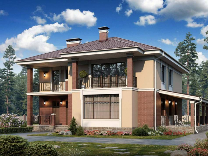 Дом с балконом и террасой: проект каркасного строения