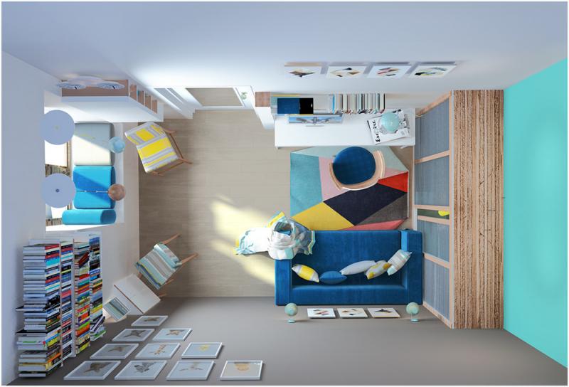 Квартира в 10 кв. м: компактный и яркий дизайн