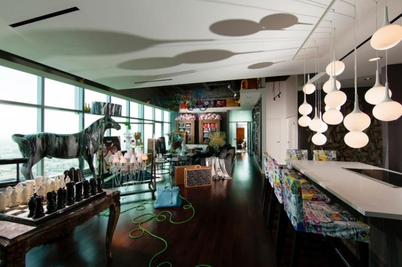 Гламурный интерьер пентхауса в Лос-Анджелесе, Калифорния