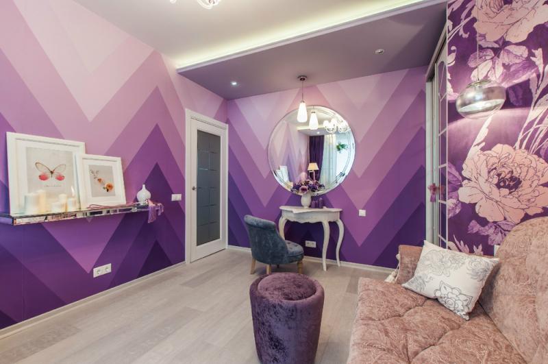 Интерьер комнаты в сиреневых оттенках