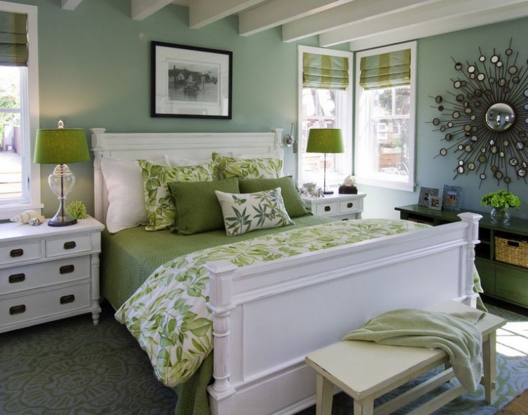 Спальни в зеленых тонах